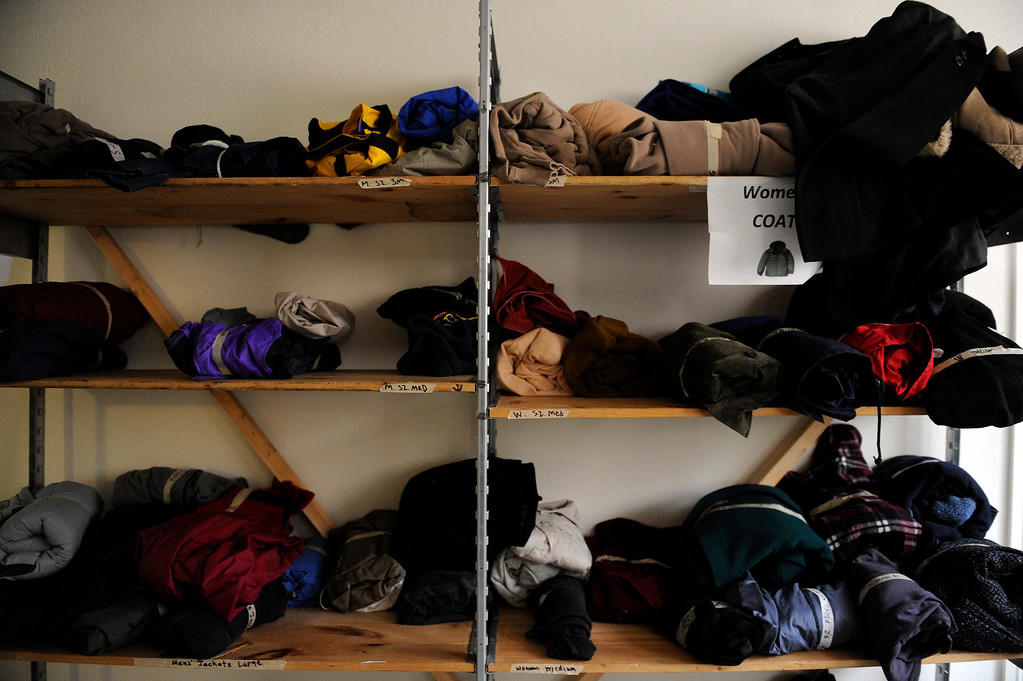Description of . AURORA, CO - NOVEMBER 21: A collection of coats are stocked in the supply closet at the Aurora Warms the Night facility on November 21, 2013, in Aurora, Colorado. (Photo by Anya Semenoff/YourHub)