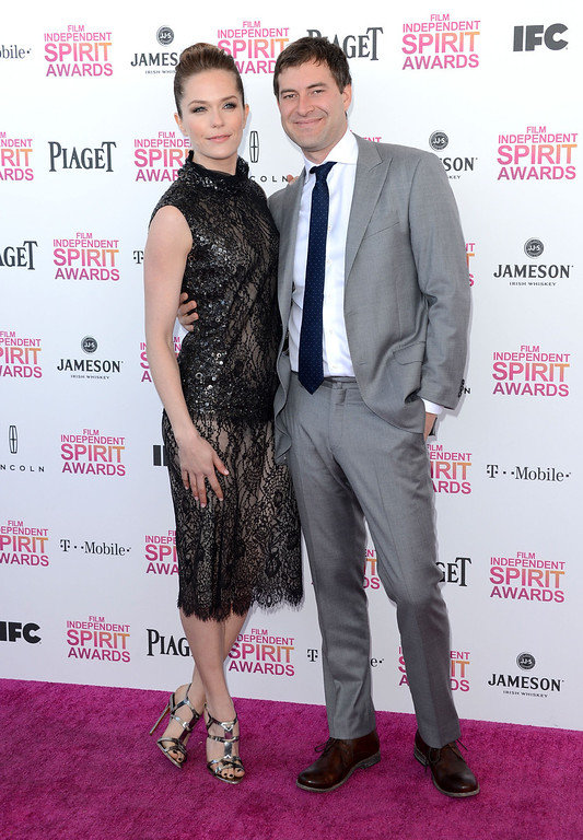. SANTA MONICA, CA - FEBRUARY 23:  Actress Katie Aselton and actor Mark Duplass attend the 2013 Film Independent Spirit Awards at Santa Monica Beach on February 23, 2013 in Santa Monica, California.  (Photo by Jason Merritt/Getty Images)