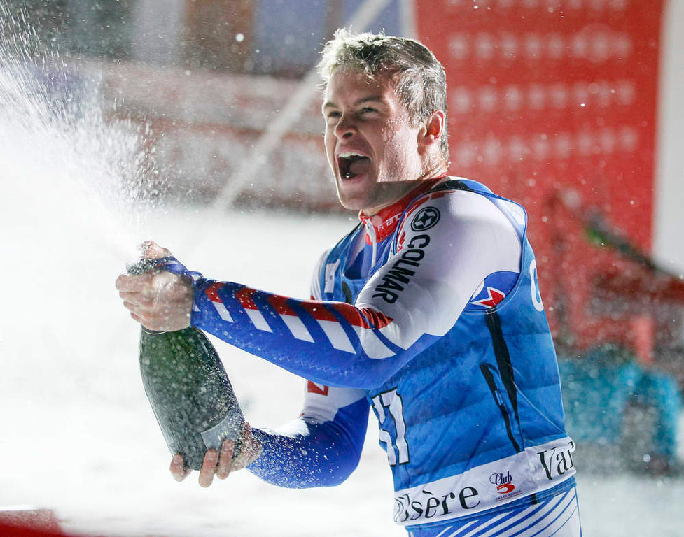 Description of . Alexis Pinturault of France sprays champagne after winning the men's World Cup Slalom skiing race in Val d'Isere, French Alps, December 8, 2012.    REUTERS/Robert Pratta