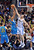 DENVER, CO. - FEBRUARY 01: Kosta Koufos of Denver Nuggets #41 blocks the shot of Anthony Davis of New Orleans Hornets #23 in the 2nd half of the game on February 1, 2013 at the Pepsi Center in Denver, Colorado. Denver won 113-98. (Photo By Hyoung Chang/The Denver Post)