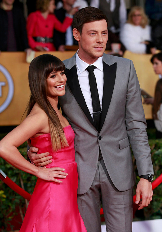 ". Actors Lea Michele and Cory Monteith of the TV series ""Glee\"" arrive at the 19th annual Screen Actors Guild Awards in Los Angeles, California January 27, 2013.  REUTERS/Adrees Latif"