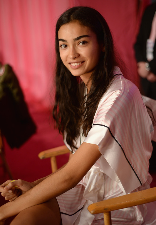 Description of . Model Kelly Gale prepares at the 2013 Victoria's Secret Fashion Show hair and make-up room at Lexington Avenue Armory on November 13, 2013 in New York City.  (Photo by Dimitrios Kambouris/Getty Images for Victoria's Secret)