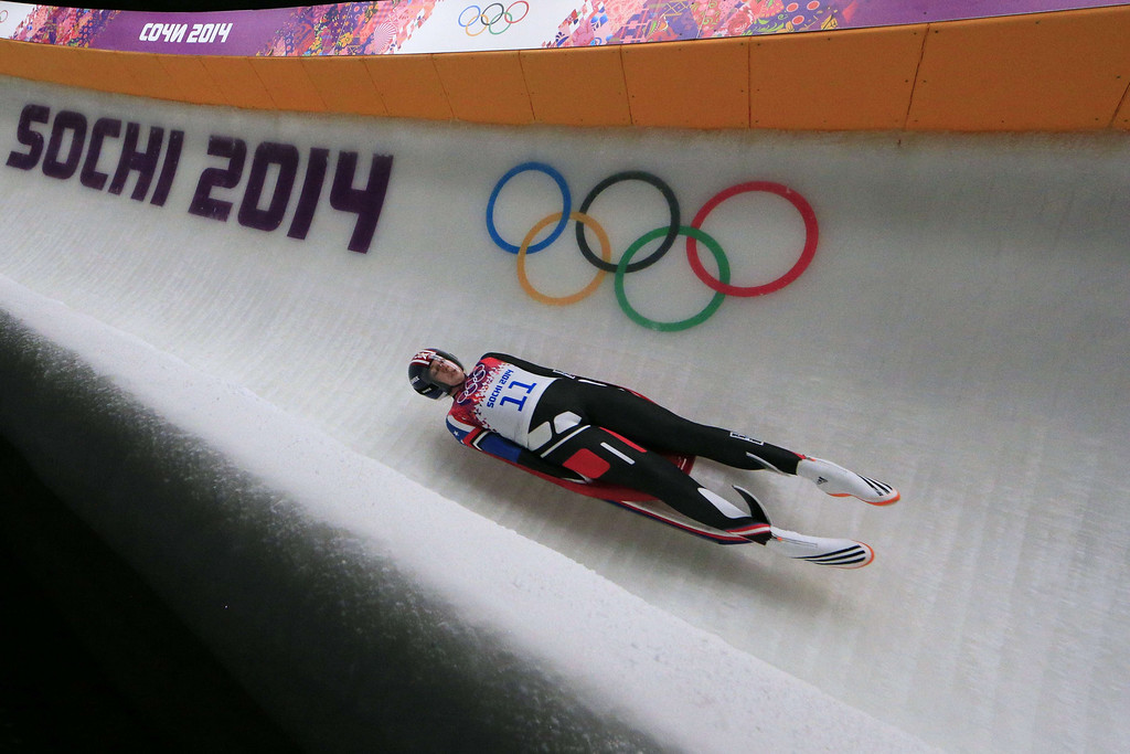 Description of . US Erin Hamlin competes during the Women's Luge Singles event final run at the Sanki Sliding Center during the Sochi Winter Olympics on February 11, 2014.  ALEXANDER KLEIN/AFP/Getty Images