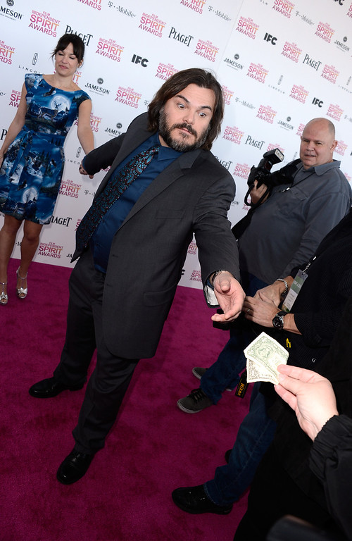 Description of . SANTA MONICA, CA - FEBRUARY 23:  Actor Jack Black and musician Tanya Haden attend the 2013 Film Independent Spirit Awards at Santa Monica Beach on February 23, 2013 in Santa Monica, California.  (Photo by Frazer Harrison/Getty Images)