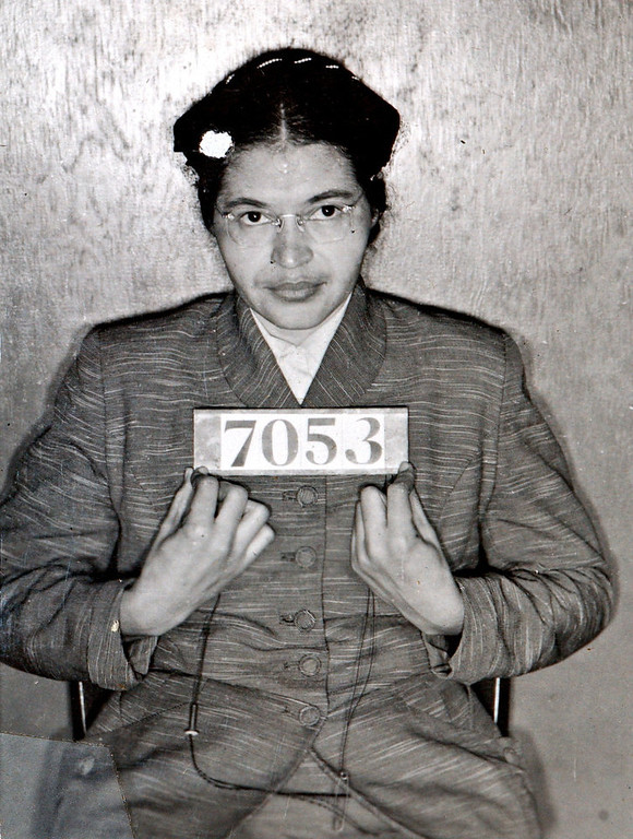Description of . A Montgomery (Ala.) Sheriff's Department booking photo of Rosa Parks taken Feb 22, 1956, after she was arrested for refusing to give up her seat on a bus for a white passenger on Dec. 1, 1955 in Montgomery, Ala.  (AP Photo/Montgomery County Sheriff's office)