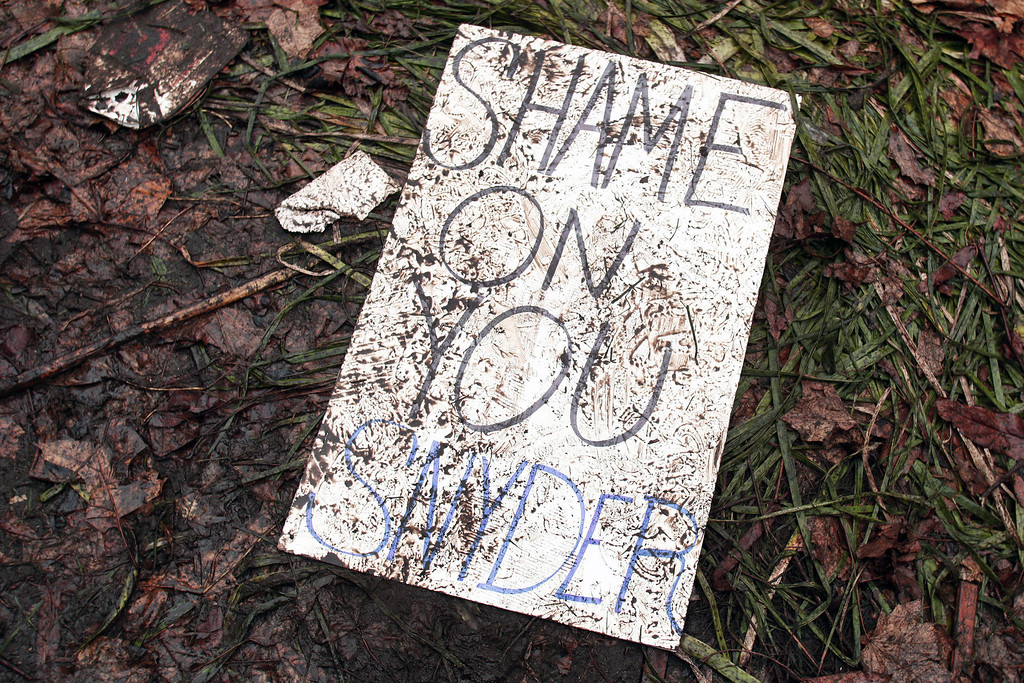 Description of . A muddied, trampled protestor's sign lies on the ground where union members from around the country rally at the Michigan State Capitol to protest a vote on Right-to-Work legislation December 11, 2012 in Lansing, Michigan. Republicans control the Michigan House of Representatives, and Michigan Gov. Rick Snyder has said he will sign the bill if it is passed. The new law would make requiring financial support of a union as a condition of employment illegal. (Photo by Bill Pugliano/Getty Images)