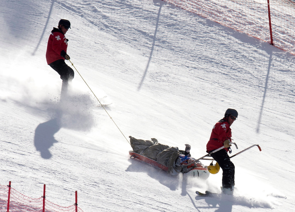 Description of . Max Franz of Austria in taken from the hill in a sled after crashing in the FIS Alpine World Cup men\'s Super G on December 1, 2012 in Beaver Creek, Colorado.    DON EMMERT/AFP/Getty Images