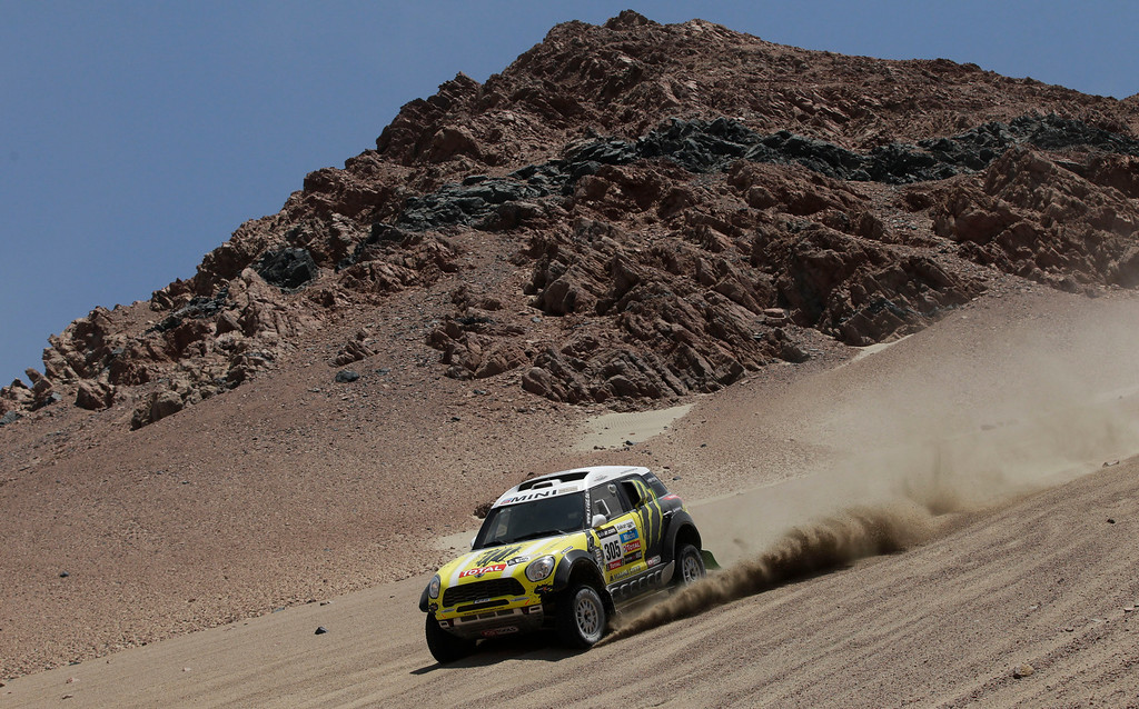 Description of . Joan Nani of Spain and co-driver Michel Perin of France race their Mini downhill in the 3nd stage of the 2013 Dakar Rally from Pisco to Nazca, Peru, Monday, Jan. 7, 2013. The race finishes in Santiago, Chile, on Jan. 20. (AP Photo/Victor R. Caivano)
