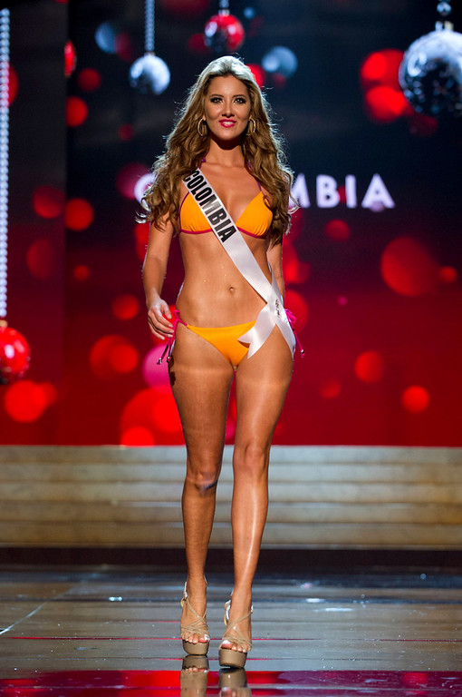 Description of . Miss Colombia Daniella Alvarez Vasquez competes in her Kooey Australia swimwear and Chinese Laundry shoes during the Swimsuit Competition of the 2012 Miss Universe Presentation Show at PH Live in Las Vegas, Nevada December 13, 2012. The 89 Miss Universe Contestants will compete for the Diamond Nexus Crown on December 19, 2012. REUTERS/Darren Decker/Miss Universe Organization/Handout