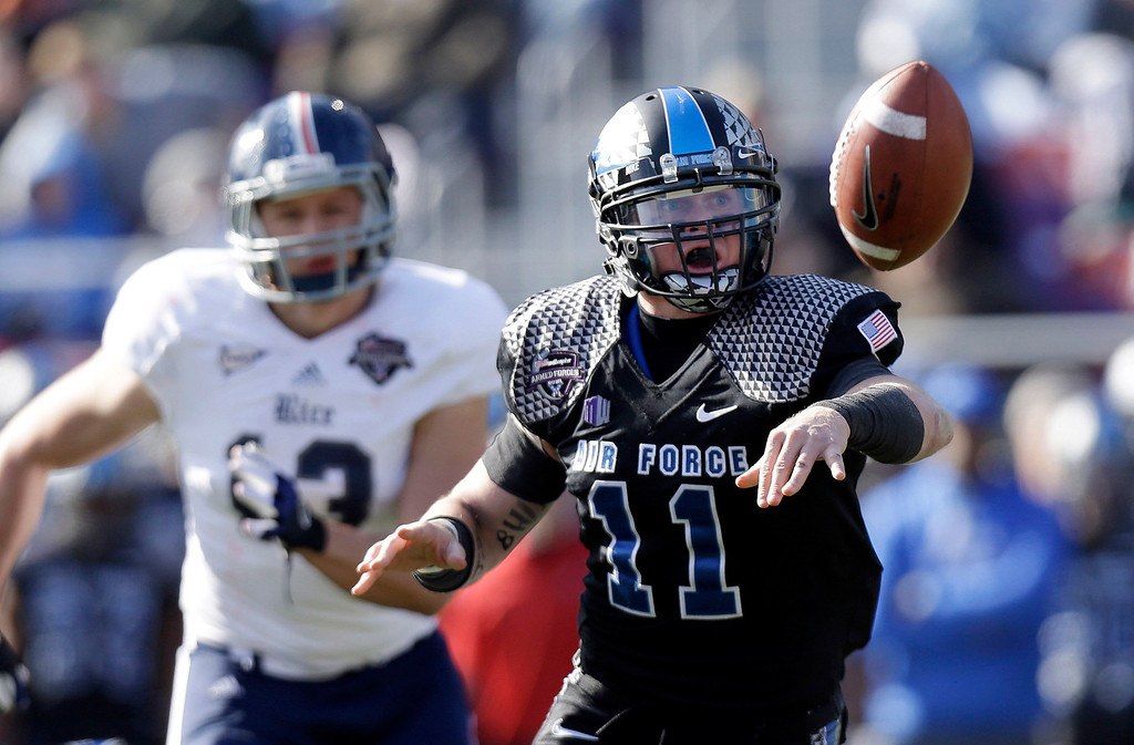 Description of . Air Force quarterback Connor Dietz (11) pitches the ball as Rice defensive end Tanner Leland (13) chases during the first half of the Armed Forces Bowl NCAA college football game, Saturday, Dec. 29, 2012, in Fort Worth, Texas. (AP Photo/LM Otero)