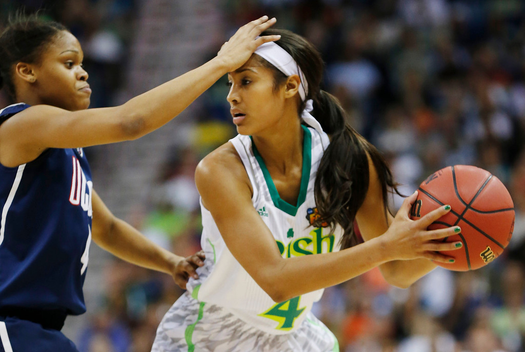Description of . Connecticut guard Moriah Jefferson (4) defends against Notre Dame guard Skylar Diggins (4) in the first half of the women\'s NCAA Final Four college basketball tournament semifinal, Sunday, April 7, 2013, in New Orleans. (AP Photo/Dave Martin)