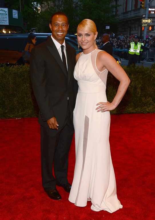 Description of . Tiger Woods and Lindsay Vonn attend the Costume Institute Gala for the