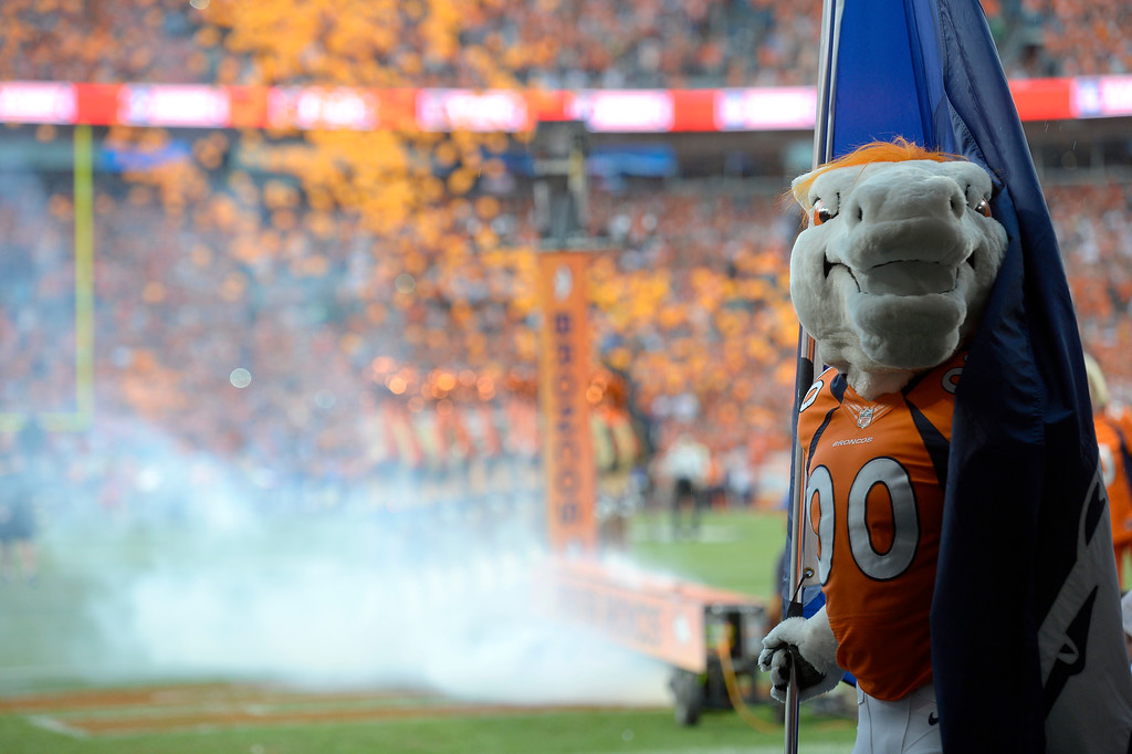 Description of . Miles the Mascot waits for the Broncos to take the field before the game against the Baltimore Ravens.   (Photo by John Leyba/The Denver Post)