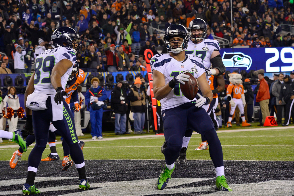 Description of . Seattle Seahawks wide receiver Jermaine Kearse (15) third quarter touchdown. The Denver Broncos vs the Seattle Seahawks in Super Bowl XLVIII at MetLife Stadium in East Rutherford, New Jersey Sunday, February 2, 2014. (Photo by Joe Amon/The Denver Post)