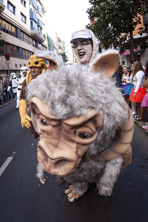 Description of . People take part in the Las Palmas' Carnival Parade held in the main streets of Las Palmas de Gran Canaria, Canary Islands, Spain, 01 March 2014.  EPA/ANGEL MEDINA G