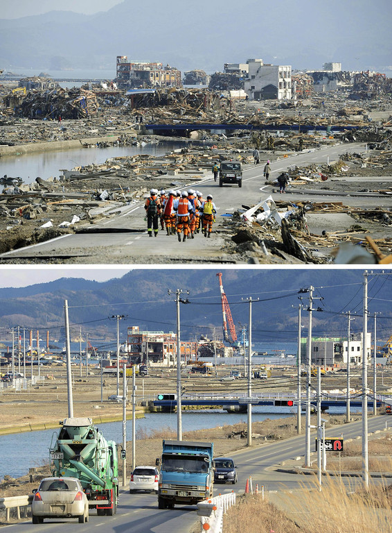 Description of . This combination photo shows a view of Minamisanriku, Miyagi prefecture, March 13, 2011, top, and Saturday, March 2, 2013. Monday, March 11, 2013 will mark the 2-year anniversary of the earthquake and tsunami which devastated the northeastern Pacific coast of Japan. Progress in rebuilding from the mountain of water that thundered over coastal sea walls, sweeping entire communities away and killing nearly 19,000 people, is mainly measured in barren foundations and empty spaces. Clearing of forests on higher ground to make space for relocation of survivors has barely begun. (AP Photo/Kyodo News)