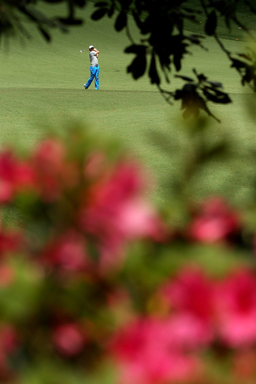 Description of . Rory McIlroy of Northern Ireland hits a shot on the 10th hole during the second round of the 2013 Masters Tournament at Augusta National Golf Club on April 12, 2013 in Augusta, Georgia.  (Photo by Mike Ehrmann/Getty Images)