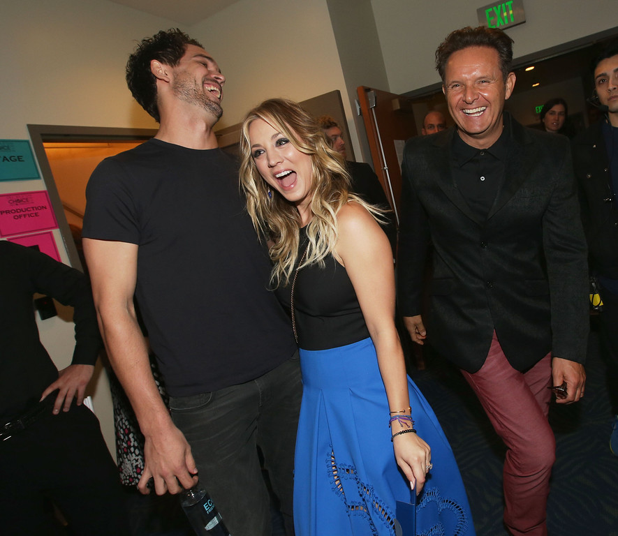 Description of . LOS ANGELES, CA - JANUARY 08:  (L-R) Tennis player Ryan Sweeting, actress Kaley Cuoco and producer Mark Burnett attend The 40th Annual People's Choice Awards at Nokia Theatre L.A. Live on January 8, 2014 in Los Angeles, California.  (Photo by Christopher Polk/Getty Images for The People's Choice Awards)