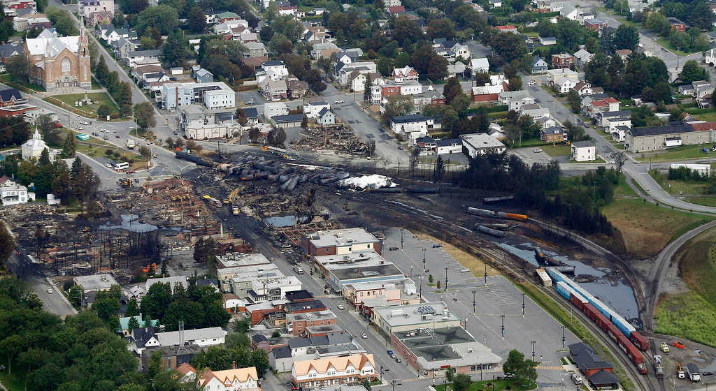 Description of . A aerial view of the wreckage of the crude oil train is seen in Lac Megantic, July 8, 2013.  REUTERS/Mathieu Belanger