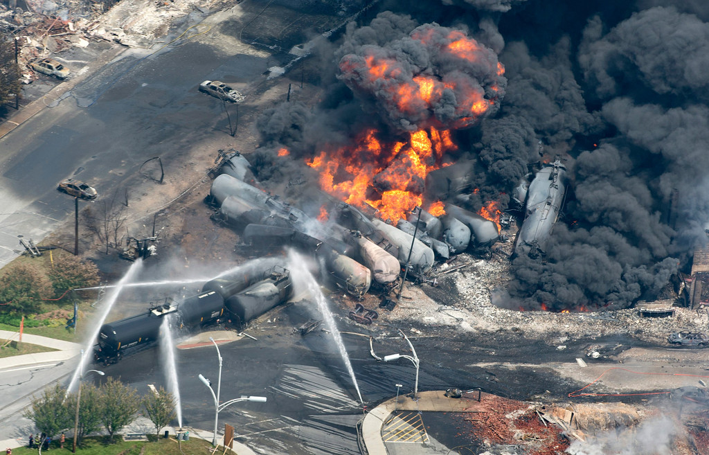 Description of . Smoke rises from railway cars that were carrying crude oil after derailing in downtown Lac Megantic, Quebec, Canada, Saturday, July 6, 2013. A large swath of Lac Megantic was destroyed Saturday after a train carrying crude oil derailed, sparking several explosions and forcing the evacuation of up to 1,000 people. (AP Photo/The Canadian Press, Paul Chiasson)