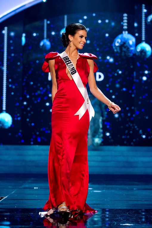 Description of . Miss Ireland 2012 Adrienne Murphy competes in an evening gown of her choice during the Evening Gown Competition of the 2012 Miss Universe Presentation Show in Las Vegas, Nevada, December 13, 2012. The Miss Universe 2012 pageant will be held on December 19 at the Planet Hollywood Resort and Casino in Las Vegas. REUTERS/Darren Decker/Miss Universe Organization L.P/Handout