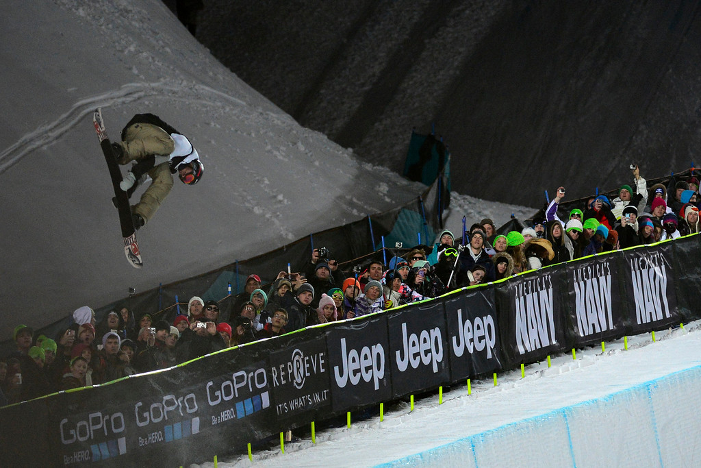 Description of . ASPEN, CO. - JANUARY 26:  Scotty Lago catches air during his second run in the men's snowboard superpipe finals. The 2013 Aspen X Games on Buttermilk Mountain on January 27, 2013. (Photo By Mahala Gaylord / The Denver Post)