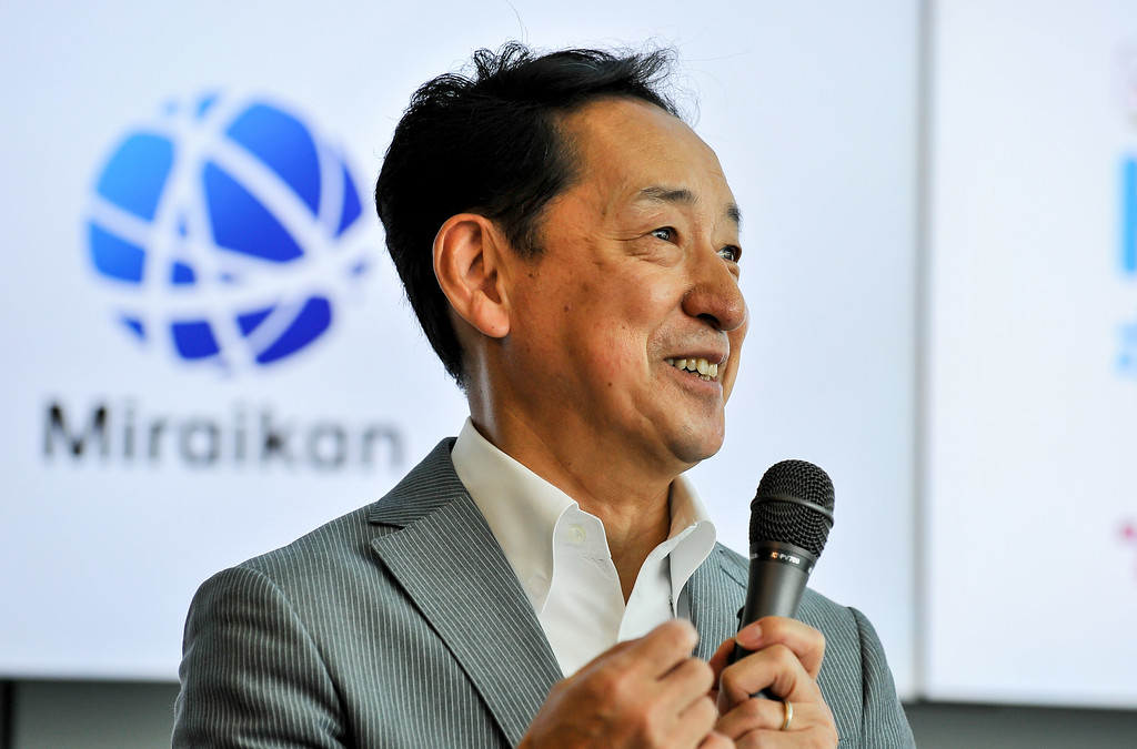 Description of . TOKYO, JAPAN - JULY 01:  Japanese astronaut Mamoru Mohri, Executive Director for the Miraikan speaks during the