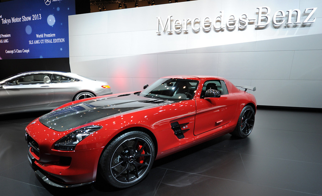 Description of . SLS AMG GT final edition car is seen on display after its world premier at the press briefing in the Tokyo Motor Show in Tokyo on November 20, 2013. The motor show, held from November 20 to December 1, features domestic makers of passenger cars, commercial vehicles and trucks alongside most of their European competitors.           AFP PHOTO / TOSHIFUMI KITAMURA/AFP/Getty Images