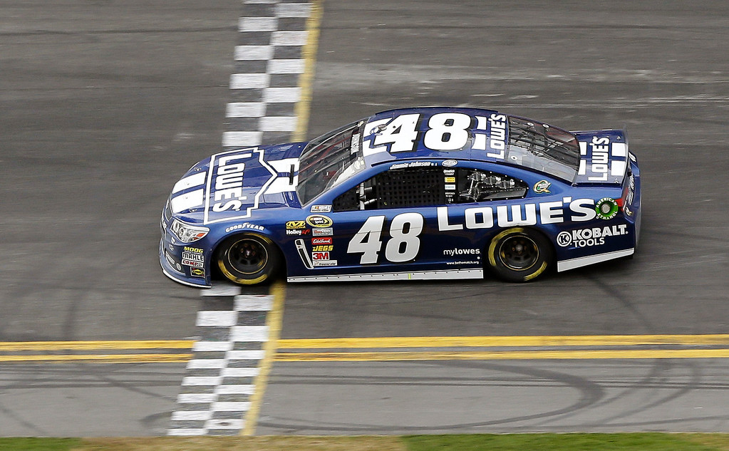 Description of . Jimmie Johnson crosses the finish line to win the Daytona 500 NASCAR Sprint Cup Series auto race, Sunday, Feb. 24, 2013, at Daytona International Speedway in Daytona Beach, Fla. (AP Photo/Chris O'Meara)