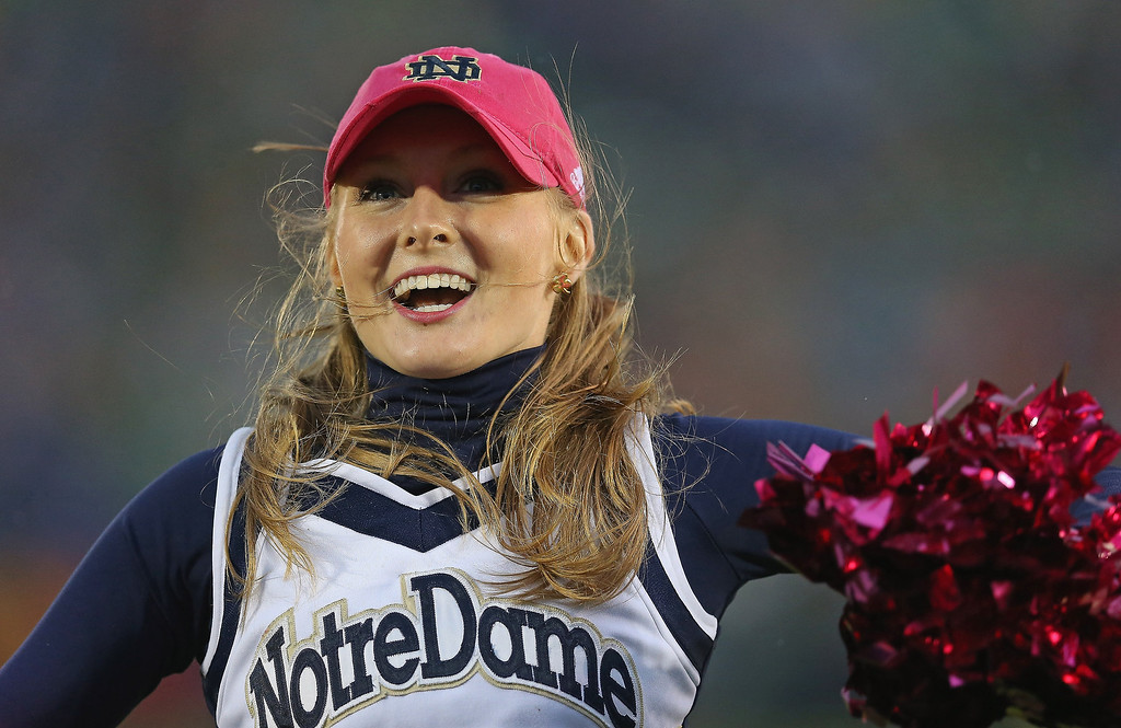 Description of . A cheerleader for the Notre Dame Fighting Irish performs during a game against the Standford Cardinal at Notre Dame Stadium on October 13, 2012 in South Bend, Indiana. Notre Dame defeated Stanford 20-13 in overtime.  (Photo by Jonathan Daniel/Getty Images)