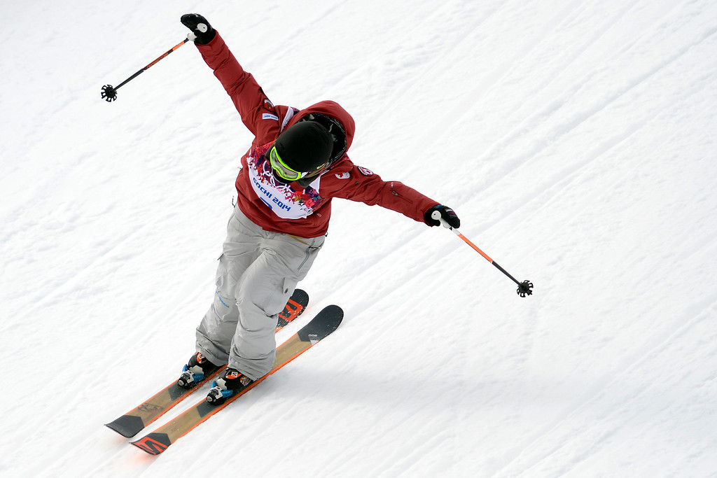 Description of . Dara Howwel of Canada wins the gold medal during the Freestyle Skiing Women\'s Slopestyle at the Rosa Khutor Extreme Park on February 11, 2014 in Sochi, Russia. (Photo by Alain Grosclaude/Agence Zoom/Getty Images)