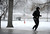 A woman braves wet snowflakes as she jogs along Louisiana Ave and near Franklin St. at Washington Park Saturday  morning,  March 9th, 2013. Andy Cross, The Denver Post