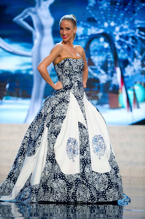 Description of . Miss Slovak Republic Lubica Stepanova performs onstage at the 2012 Miss Universe National Costume Show at PH Live in Las Vegas, Nevada December 14, 2012. The 89 Miss Universe Contestants will compete for the Diamond Nexus Crown on December 19, 2012. REUTERS/Darren Decker/Miss Universe Organization/Handout