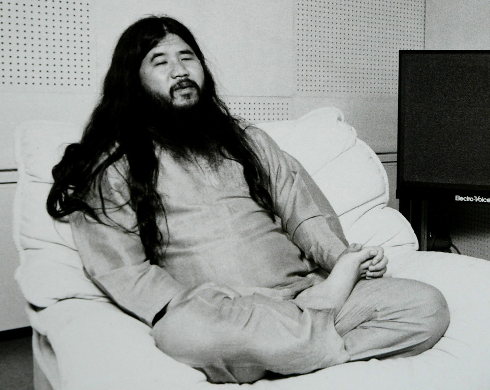 Description of . Former cult leader Shoko Asahara, accused of masterminding the 1995 Sarin gas attack on Tokyo's subway in which 12 people died and a further 5,000 were poisoned, is seen in this undated photo. Asahara and his followers believed he was Christ reincarnated and that he had to defeat the enemies of Japan in order to survive World War III or armageddon.  (Handout/Getty Images)
