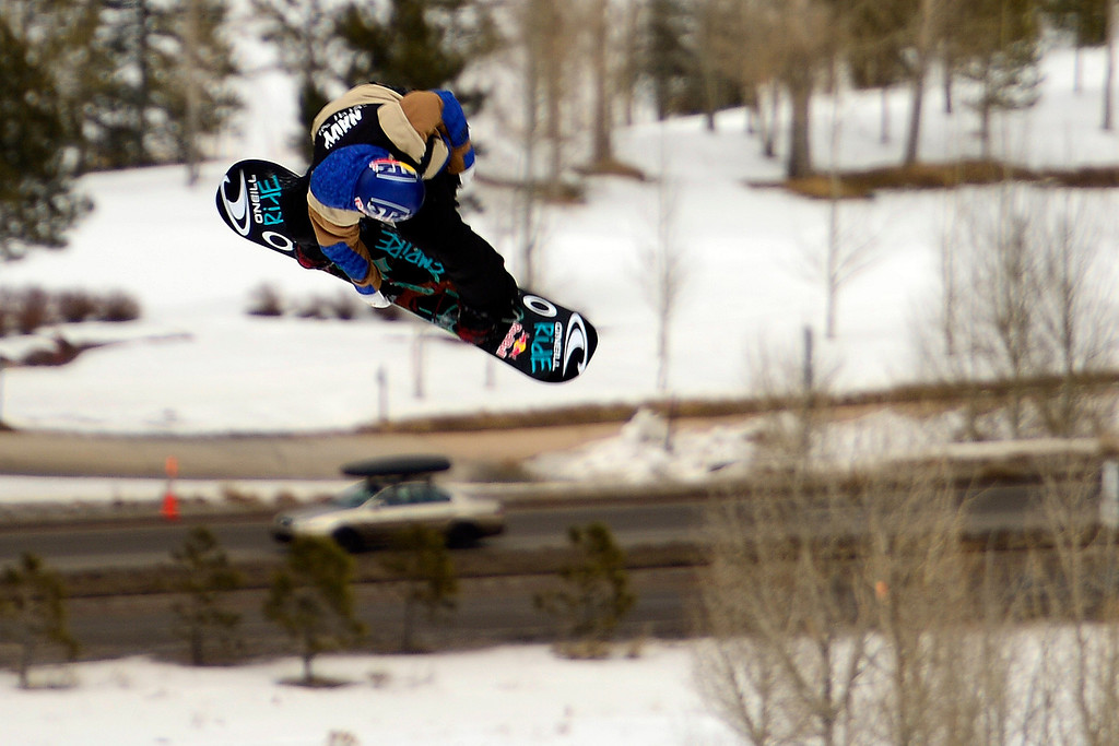 Description of . ASPEN, CO. - JANUARY 24: during the men's Snowboard Slopestyle elimination. Men's Snowboard Slopestyle elimination X Games Aspen Buttermilk Mountain Aspen January 24, 2013. (Photo By AAron Ontiveroz / The Denver Post)