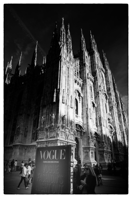 Description of . A general view of the Duomo of Milan during the Milan Vogue Fashion Night on September 17, 2013 in Milan, Italy.  (Photo by Vittorio Zunino Celotto/Getty Images)