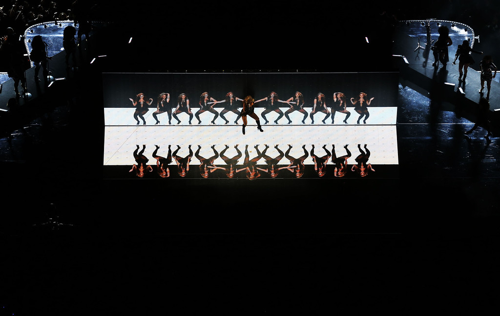 Description of . Singer Beyonce performs during the Pepsi Super Bowl XLVII Halftime Show at the Mercedes-Benz Superdome on February 3, 2013 in New Orleans, Louisiana.  (Photo by Chris Graythen/Getty Images)