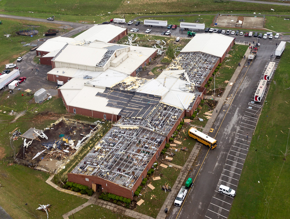 Description of . This aerial photo shows tornado damage to South Lincoln Elementary School near Fayetteville, Tenn.,  on Wednesday, April 30, 2014.  Gov. Bill Haslam visited the area near the Alabama line that suffered heavy damage and two fatalities during Monday's storms. (AP Photo/Erik Schelzig)
