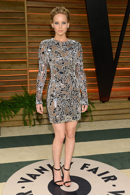 Description of . Jennifer Lawrence attends the 2014 Vanity Fair Oscar Party, on Sunday, March 2, 2014, in West Hollywood, Calif. (Photo by Evan Agostini/Invision/AP)