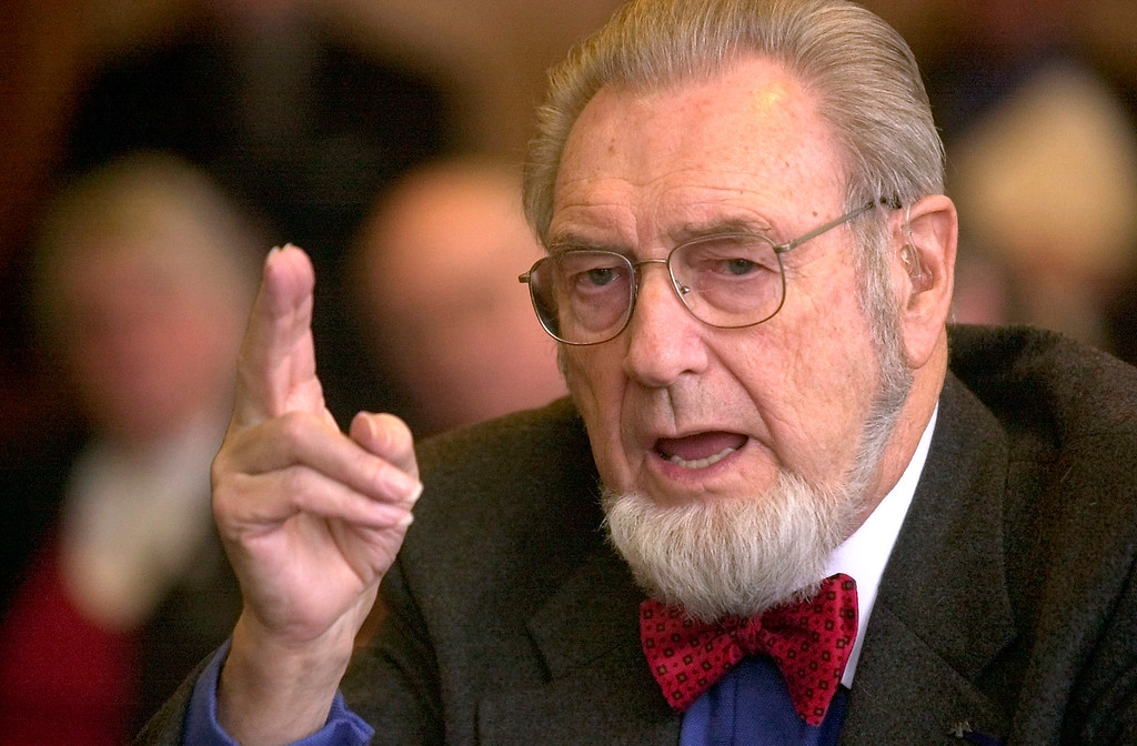 Description of . In this Feb. 12, 2002 file photo, former U.S. Surgeon General Dr. C. Everett Koop testifies in Concord, N.H. Koop, who raised the profile of the surgeon general by riveting America's attention on the then-emerging disease known as AIDS and by railing against smoking, died Feb. 25, 2013. He was 96. (AP Photo/Jim Cole)