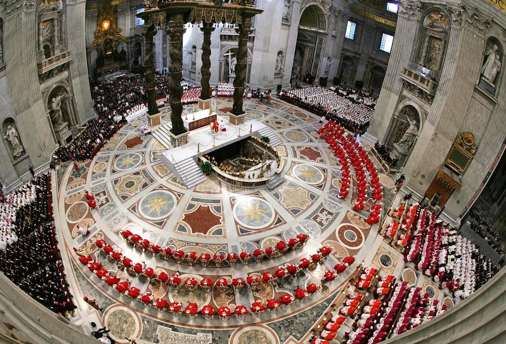 Description of . German Cardinal Joseph Ratzinger (C) presides over the special