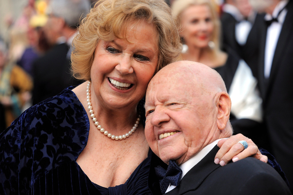 Description of . In this Sunday,  March 7, 2010, file photo, Mickey Rooney, right, and Jane Rooney arrive during the 82nd Academy Awards, in the Hollywood section of Los Angeles.  (AP Photo/Chris Pizzello, File)