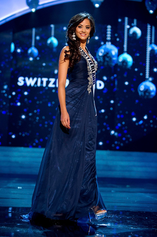 Description of . Miss Switzerland 2012 Alina Buchschacher competes in an evening gown of her choice during the Evening Gown Competition of the 2012 Miss Universe Presentation Show in Las Vegas, Nevada, December 13, 2012. The Miss Universe 2012 pageant will be held on December 19 at the Planet Hollywood Resort and Casino in Las Vegas. REUTERS/Darren Decker/Miss Universe Organization L.P/Handout