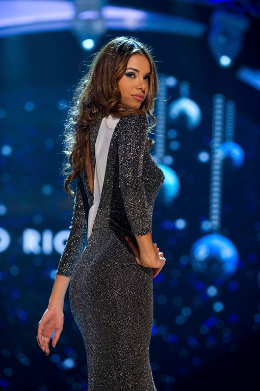 Description of . Miss Puerto Rico 2012, Bodine Koehler, rehearses for the 2012 Miss Universe Presentation Show in Las Vegas, Nevada, December 13, 2012.  The Miss Universe 2012 pageant will be held on December 19, 2012 at the Planet Hollywood Resort and Casino in Las Vegas. REUTERS/Darren Decker/Miss Universe Organization L.P/Handout