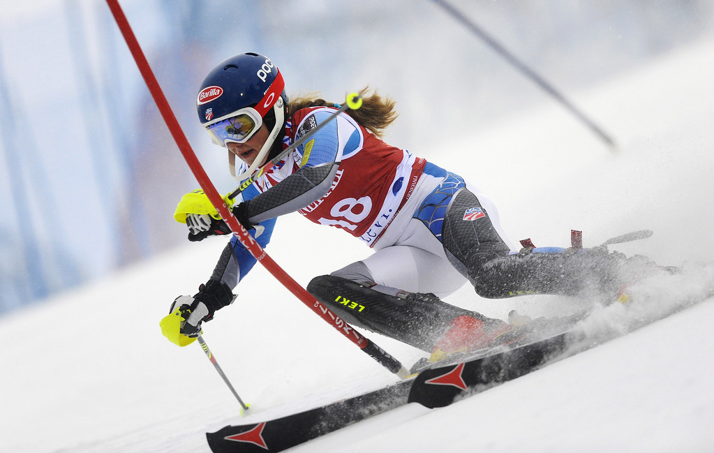 Description of . Mikaela Shiffrin of USA competes during the Audi FIS Alpine Ski World Cup Women's Slalom on November 10, 2012 in Levi, Finland. (Photo by Alain Grosclaude/Agence Zoom/Getty Images)