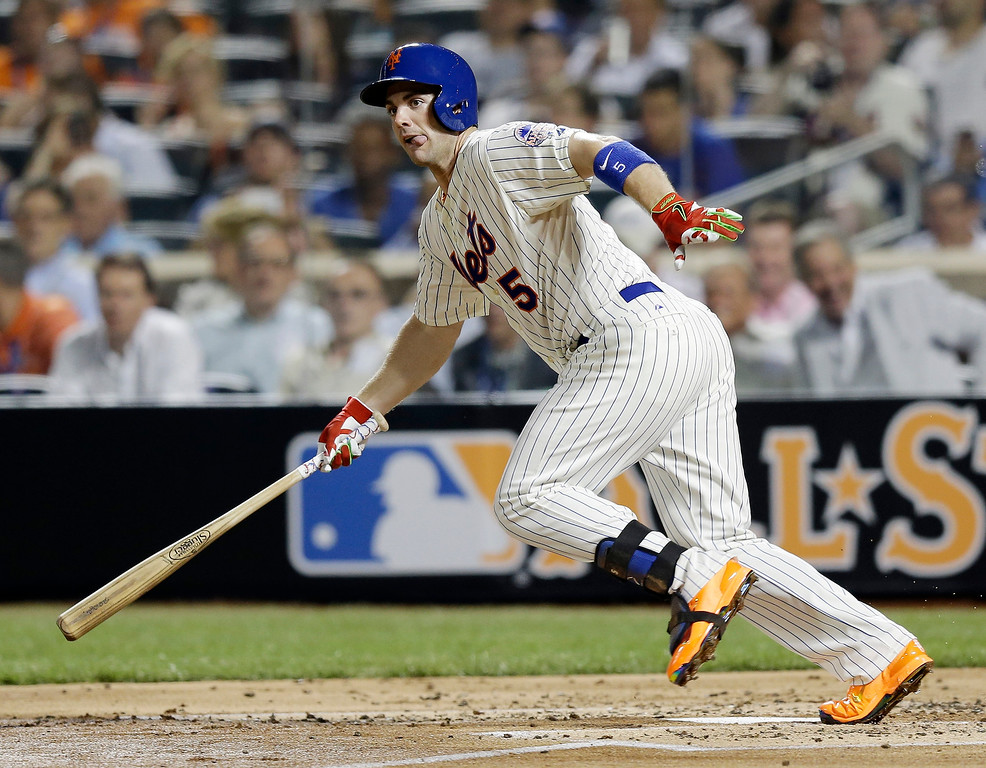 Description of . National Leagueís David Wright, of the New York Mets, watches as he grounds out to third  base during the second inning of the MLB All-Star baseball game, on Tuesday, July 16, 2013, in New York. (AP Photo/Kathy Willens)