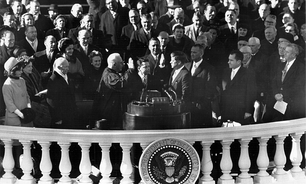 Description of . Kennedy takes the presidential oath of office  in January 1960 in Washington. Photo by National Archive/Newsmakers