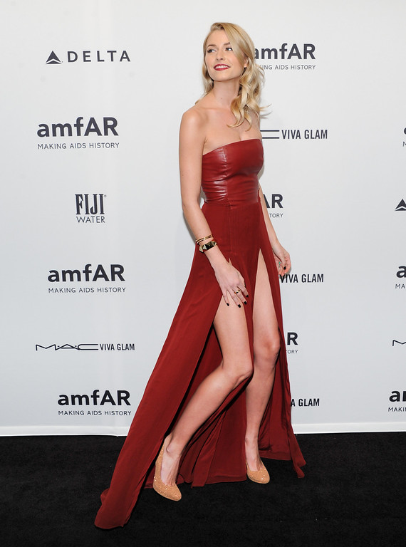 Description of . German model Lena Gercke attends amfAR's New York gala at Cipriani Wall Street on Wednesday, Feb. 6, 2013 in New York. (Photo by Evan Agostini/Invision/AP)