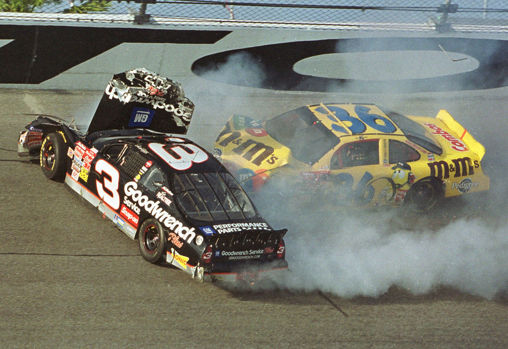 Description of . Ken Schrader (36) slams into Dale Earnhardt (3) during the Daytona 500, in this Feb. 18, 2001 file photo, at the Daytona International Speedway in Daytona Beach, Fla.  Earnhardt was killed in the crash.  (AP Photo/Glenn Smith, File)