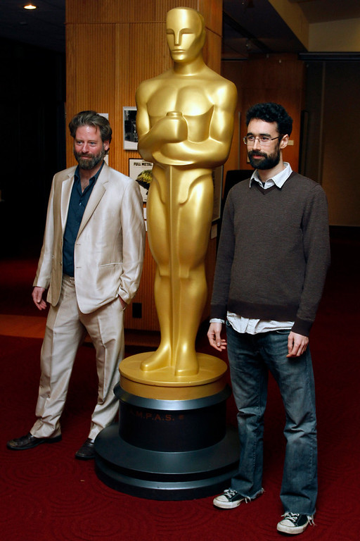 """Description of . Sam French (L) and Ariel Nasr, filmmakers of the Live-Action Short Film nominee \""""Buzkashi Boys\"""", arrive at \""""Oscar Celebrates: Shorts,\"""" featuring this year\'s Oscar-nominated films in the Animated and Live-Action Short Film categories at the Academy of Motion Picture Arts and Sciences in Beverly Hills, California, February 19, 2013. REUTERS/Jonathan Alcorn"""